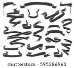 set of hand drawn banner  ...   Shutterstock .eps vector #595286963