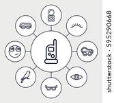 eye icons set. set of 9 eye... | Shutterstock .eps vector #595290668