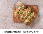hot dogs with sausage  fried... | Shutterstock . vector #595292579