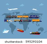 global logistics network... | Shutterstock .eps vector #595293104