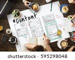 webpage content design website... | Shutterstock . vector #595298048