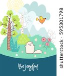 doodles cute card  spring theme.... | Shutterstock .eps vector #595301798