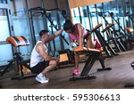 personal fitness instructor... | Shutterstock . vector #595306613