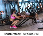 female personal fitness... | Shutterstock . vector #595306643