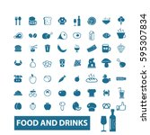 food and drinks icons | Shutterstock .eps vector #595307834