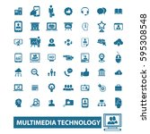 multimedia technology icons | Shutterstock .eps vector #595308548