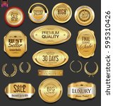 golden badges and labels with... | Shutterstock .eps vector #595310426