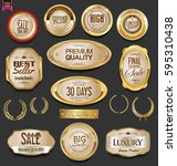 golden badges and labels with... | Shutterstock .eps vector #595310438