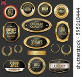 golden badges and labels with... | Shutterstock .eps vector #595310444
