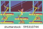 flat colorful gym 09 | Shutterstock . vector #595310744