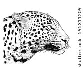 leopard face tattoo  vector... | Shutterstock .eps vector #595311209