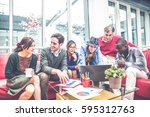 team of businessmen sharing... | Shutterstock . vector #595312763