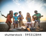 multicultural group of friends... | Shutterstock . vector #595312844