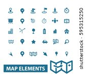 map elements icons  | Shutterstock .eps vector #595315250