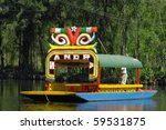 Floating garden on boat in Mexico city, Xochimilco - stock photo