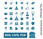 bar  cafe  cafeteria  pub icons | Shutterstock .eps vector #595318754