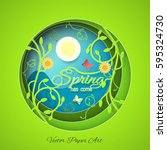 multilayered spring has come... | Shutterstock .eps vector #595324730