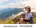 happy hiker asian cute teens... | Shutterstock . vector #595328048
