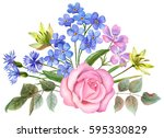 watercolor flowers  composition ... | Shutterstock . vector #595330829