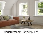 white room with sofa and green... | Shutterstock . vector #595342424