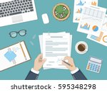businessman signing a document. ... | Shutterstock .eps vector #595348298