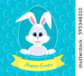 happy easter greeting card with ... | Shutterstock .eps vector #595348310