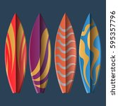 set of surfboards on a blue... | Shutterstock .eps vector #595357796