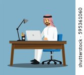 arabian businessmen people ... | Shutterstock .eps vector #595361060
