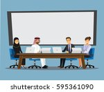 business people having board... | Shutterstock .eps vector #595361090