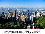 honk kong island   peak view  | Shutterstock . vector #595364084