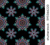 ikat damask seamless pattern... | Shutterstock . vector #595366220