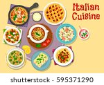 italian cuisine lunch with... | Shutterstock .eps vector #595371290