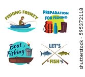 boat fishing cartoon icon set.... | Shutterstock .eps vector #595372118