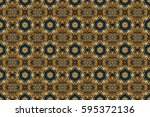 seamless golden vintage pattern ... | Shutterstock . vector #595372136
