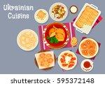 ukrainian cuisine traditional... | Shutterstock .eps vector #595372148