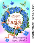 easter wreath of spring flowers ... | Shutterstock .eps vector #595372154