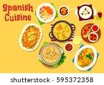 spanish cuisine icon of fried... | Shutterstock .eps vector #595372358