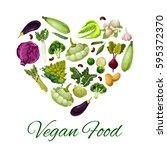 vegetable food heart. fresh... | Shutterstock .eps vector #595372370