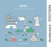 seoul line layer set | Shutterstock .eps vector #595373396