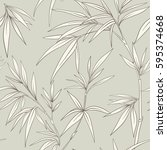 seamless pattern with bamboo... | Shutterstock .eps vector #595374668