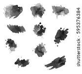 watercolor splashes. set of... | Shutterstock . vector #595376384
