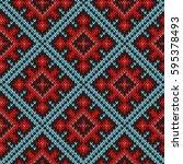 knitted geometric motley... | Shutterstock . vector #595378493