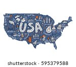 the map with the symbols of... | Shutterstock .eps vector #595379588