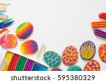 colored easter eggs. color... | Shutterstock . vector #595380329