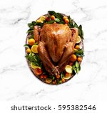 cooked   plated turkey with... | Shutterstock . vector #595382546