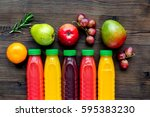 fitness smoothie in plastic... | Shutterstock . vector #595383230