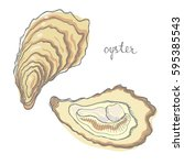 oyster. seafood design elements.... | Shutterstock .eps vector #595385543