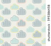 clouds. seamless pattern.hand... | Shutterstock .eps vector #595386458