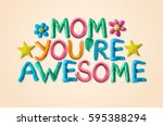 mother's day greeting card with ...   Shutterstock . vector #595388294