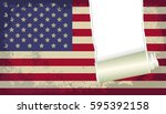 grunge and torn flag of usa  | Shutterstock .eps vector #595392158